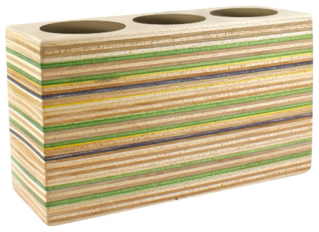Minimalist Pencil Holder Made From Recycled Skateboards, 3 Hole.