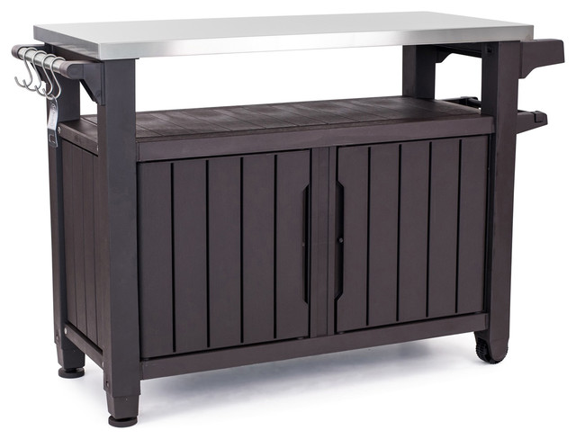 Keter Unity XL Indoor Outdoor BBQ Prep Station and Serving Cart, Espresso Brown
