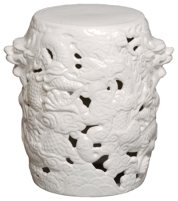 dragon stool white asian accent and garden stools