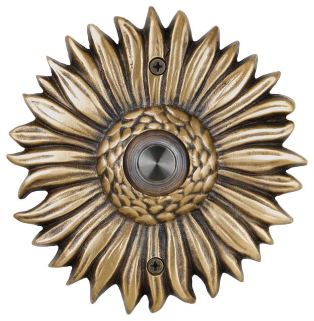 Solid Brass Sunflower Doorbell in Antique Brass - Solid Brass Sunflower Doorbell In 4 Finishes - Traditional