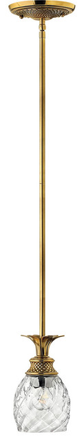 Plantation 1-Light Mini Pendants, Burnished Brass.