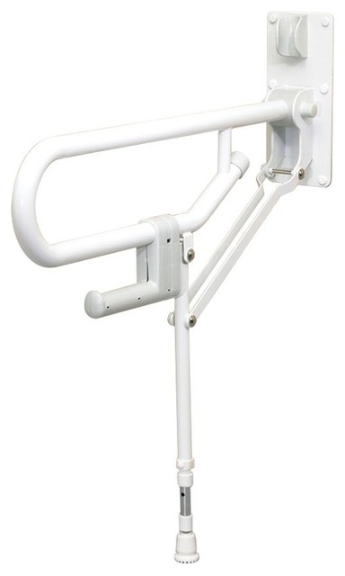 Fold Up Support Grab Bar With Adjustable Leg White Grab