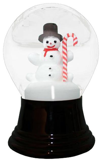 Perzy Snowglobe, Medium Snowman With Candy Cane.