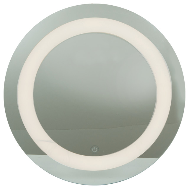 Bathroom Light Fixtures Damp Location spa, damp location round mirror, led, mirror finish with frosted