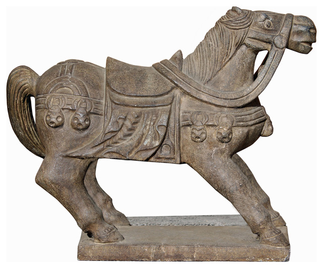 Tong Style Chinese Handcrafted Stone Carved Warrior Horse Statue Hwk2035 1  Asian Garden