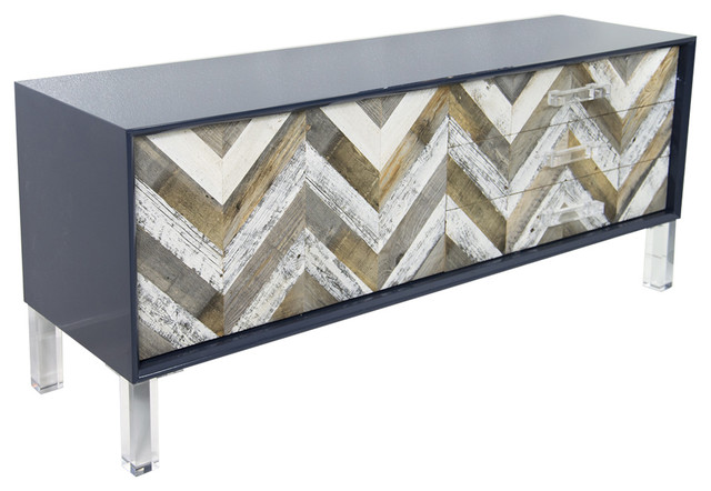 Capri 2 Door 3 Drawer Credenza Navy Contemporary Buffets And Sideboards By Modshop Houzz