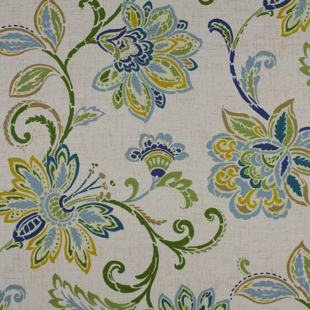 df5993677e Oasis Blue Green Yellow Neutral Floral Print Upholstery Fabric ...