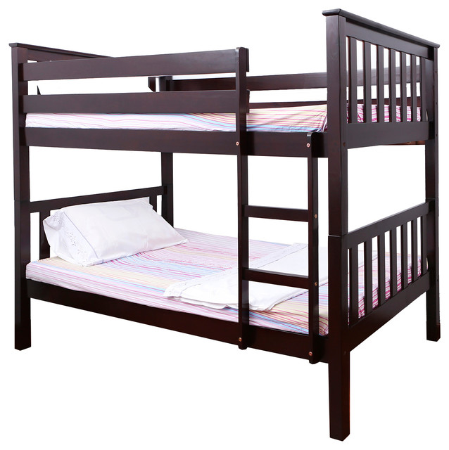 Contemporary Bunk Beds pineville wooden twin over twin bunk bed - contemporary - bunk