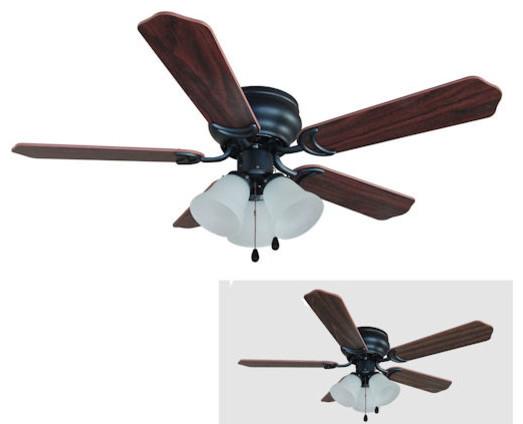 "Oil Rubbed Bronze 42"" Hugger Ceiling Fan With Light Kit."