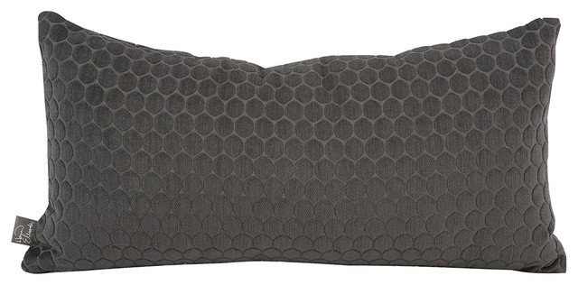 Howard Elliott Deco Pewter Kidney Pillow, Down Insert