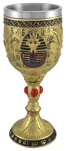 Zeckos Egyptian Pharaoh Golden Wine Goblet 6 Oz