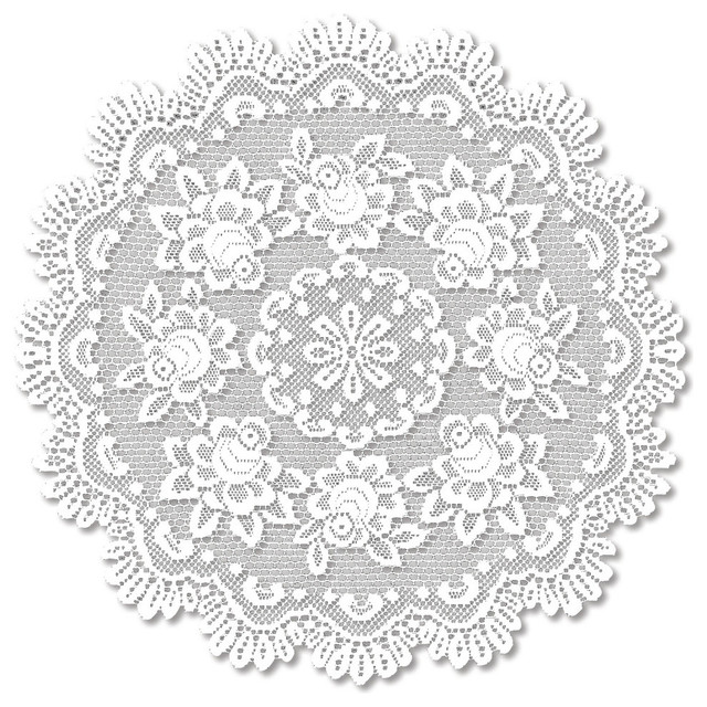Rose Round Table Topper, Off White