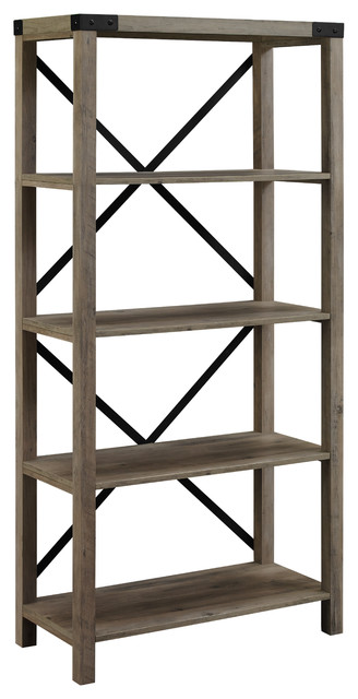 "64"" Farmhouse Metal X Bookcase, Gray Wash"