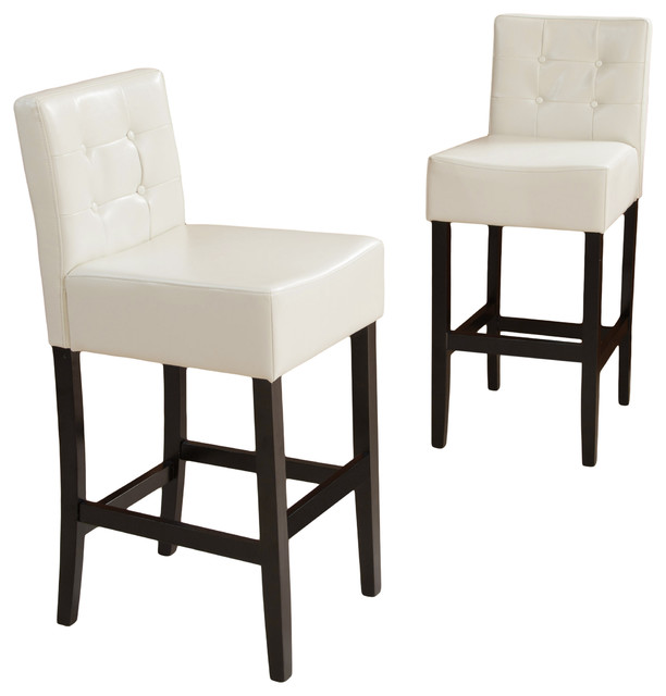 Gregory Ivory Leather Back Stools Bar Height Set Of 2