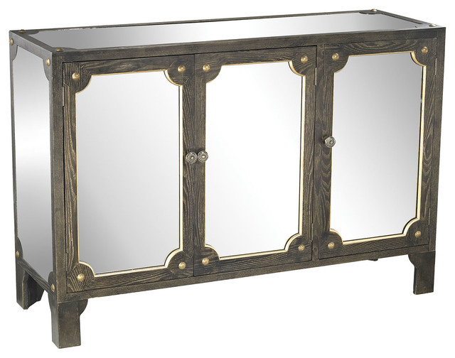 Jules Mirrored Cabinet, Black Stain, Gold Accents, Clear Mirror - Transitional - Medicine ...