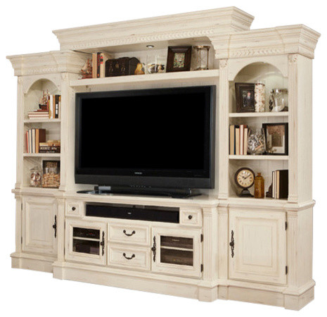 Fremont Antique, Style Burnished White Entertainment Wall, 4-Piece Set