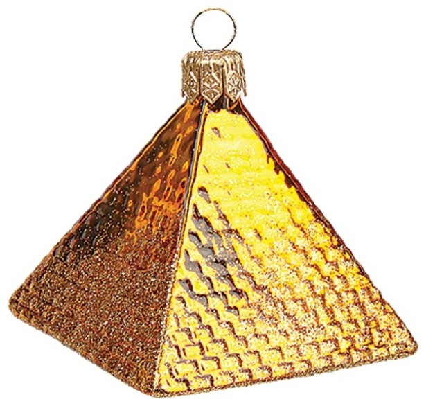 Mini Egyptian Pyramid Polish Mouth Blown Glass Christmas Ornament ...