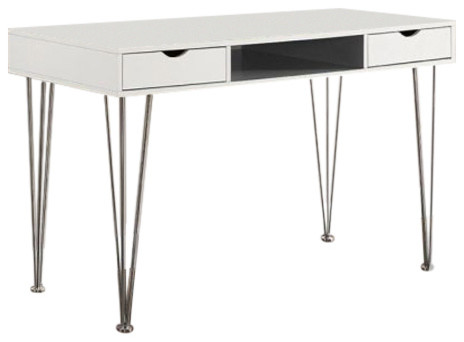 "We D48ca1gr Home Office 48"" Wood Chrome Computer Storage Desk, Gray."
