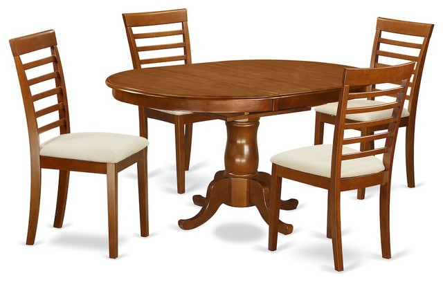 Portland 5-Piece Solid Wood Dining Set, Saddle Brown by East West Furniture