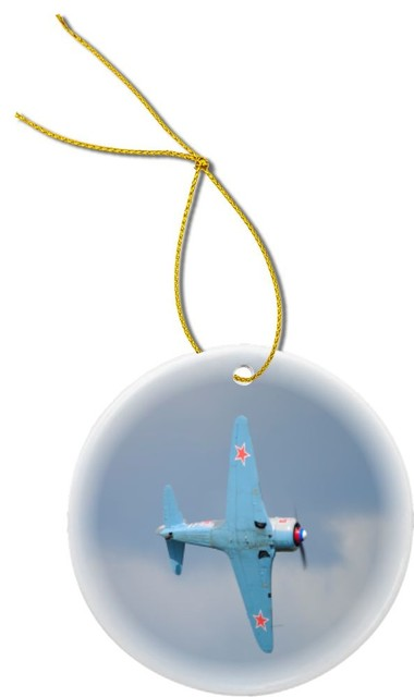 Ww2 Christmas Gifts.World War Ii Fighter Jet Design Round Porcelain Christmas Ornament