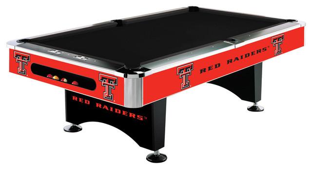 Texas Tech Red Raiders 8u0027 Pool Table, No Cloth, No Ball Return Contemporary