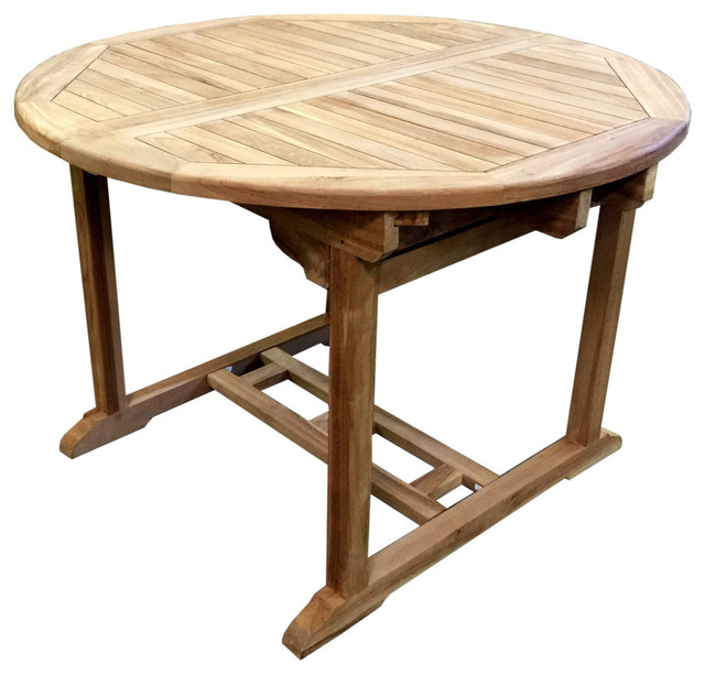 Teak Extendable Dining Table Transitional Outdoor Dining Tables
