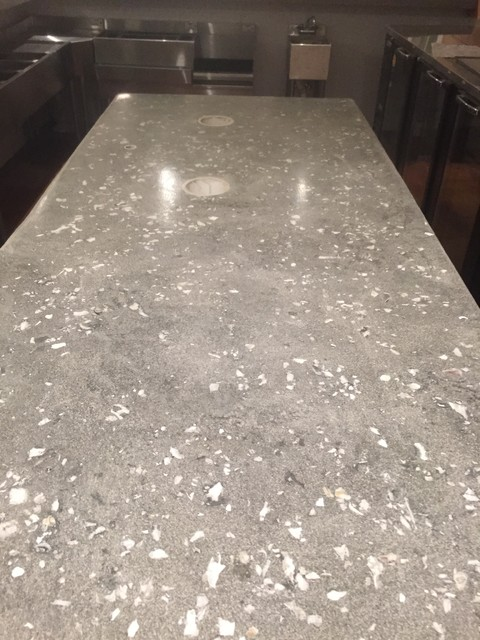 Countertops Embedded Oyster Shells In Concrete Beach