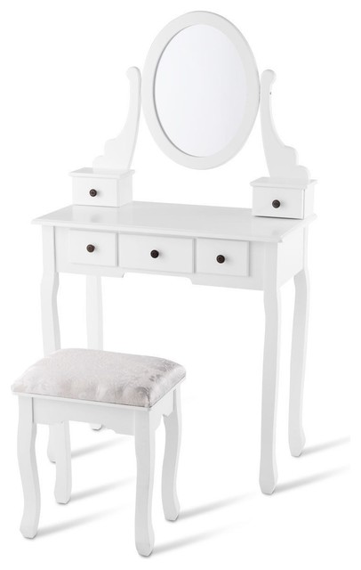 Modern Dressing Table Set With Oval Mirror Stool And 5 Storage Drawers