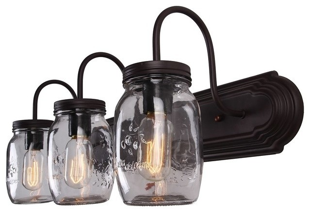 Mason Jar Vanity Light Oil Rubbed Bronze, 3-Light.
