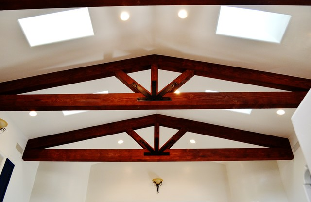 Vaulted Ceiling With Exposed Beam Trusses Mediterranean