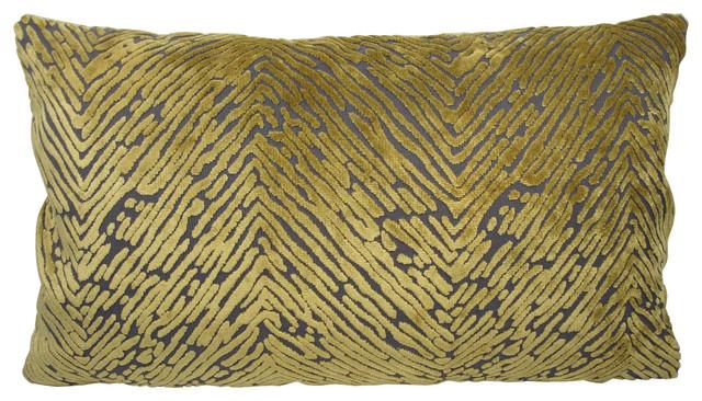 Olive Green Velvet Modern Lumbar Pillow With Feather/down Insert.