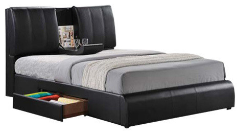 Clarkston Faux Leather Bed With Storage Drawers Queen