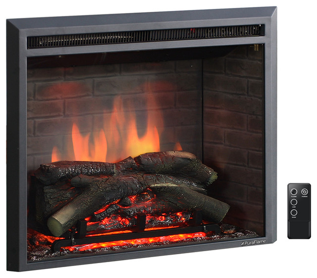 """Puraflame Western Electric Fireplace Insert With Remote Control, 750/1500W, 26"""""""