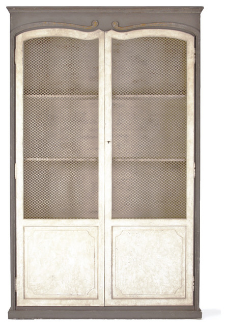 Dorsey Putty White French Country Gray Mesh Tall Cabinet.