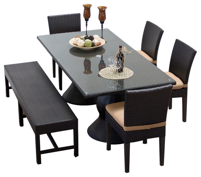 Saturn Rectangular Outdoor Patio Dining Table With 4 Chairs 1 Bench Modern