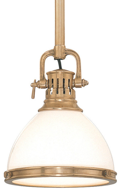 Randolph, One Light 15-Inch Pendant, Aged Brass Finish, Opal Glossy Glass Shade.