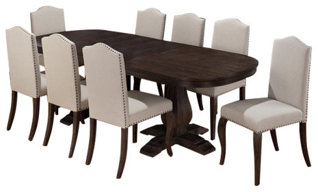 Jofran 634 102 9 Piece Dining Room Set W/ Butterfly Leaf Transitional Dining