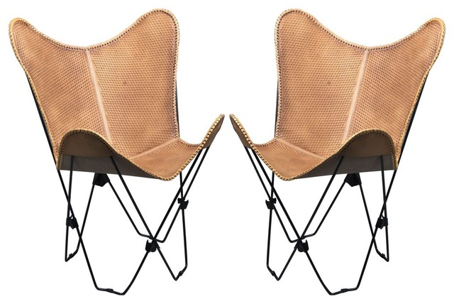 Pair Genuine Leather Butterfly Chair Folding Lounge