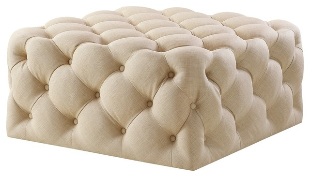 Cool Lewis Square Cocktail Ottoman Allover Tufted Castered Legs Linen Beige Squirreltailoven Fun Painted Chair Ideas Images Squirreltailovenorg