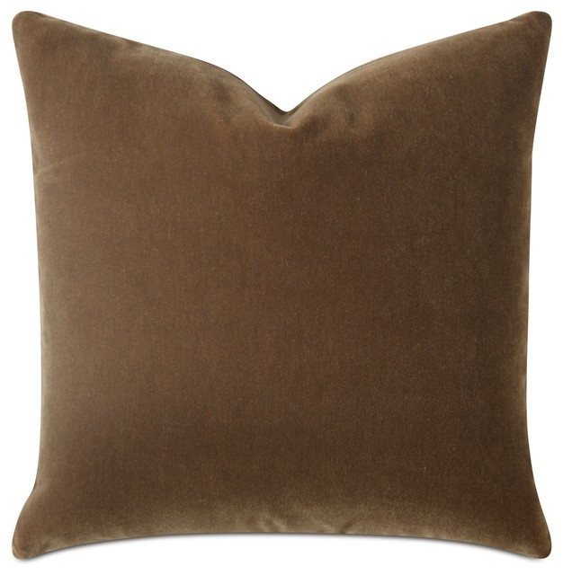 """Saddle Brown Luxury Mohair Euro Sham Cover, Marrone, 27""""x27"""" With Insert."""