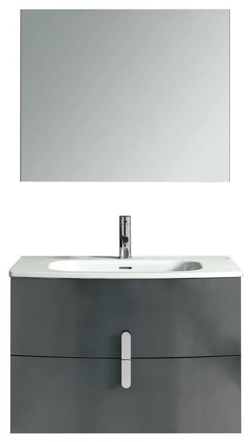 "40"" Floating Bathroom Vanity Set Royo Round With 2 Drawers ..."