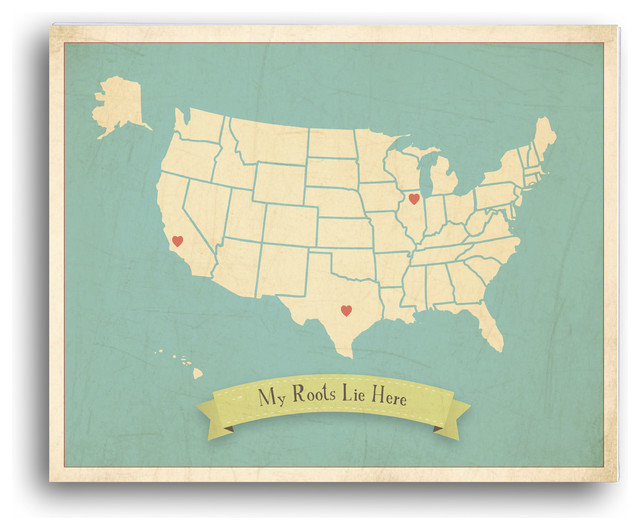 Personalized Usa Map.My Roots Personalized Usa Map In Blue Children S Wall Art On Gallery