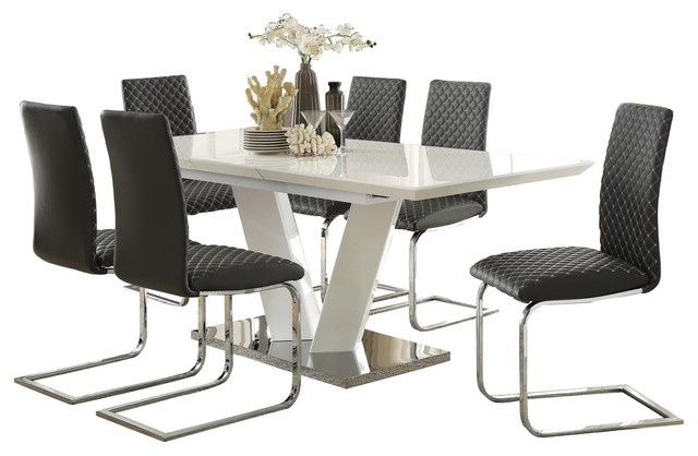 7-Piece Yanson Ultra Modern Dining Set Table, 6 Chair, White