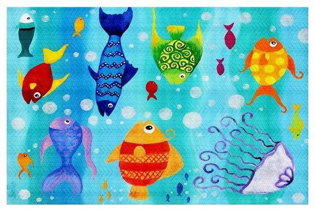 Happy Fish Area Rug, 72.5x52.5.