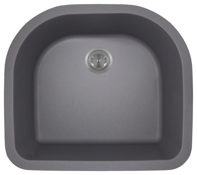 D-Bowl Astragranite Sink, Silver.