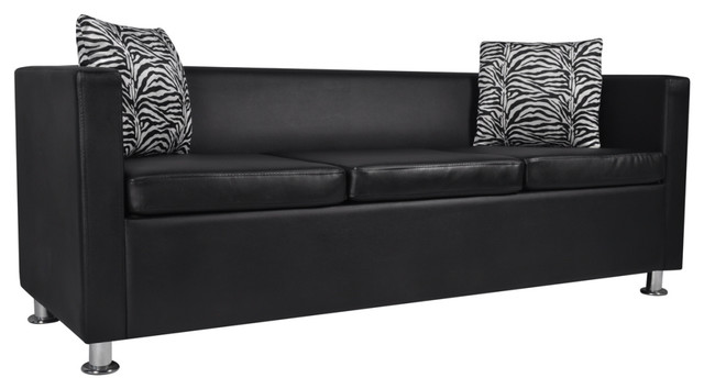 Artificial Leather 3-Seater Sofa Black - Contemporary - Sofas - by ...