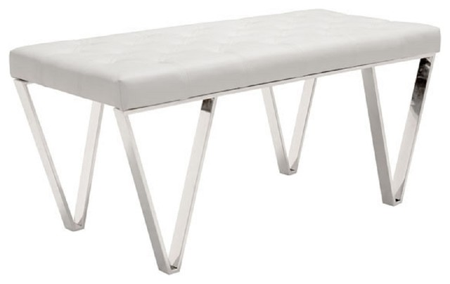 Pyper Marketing White Faux Leather Upholstered Stainless Steel Mid-Century Bench. -1