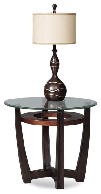 End Table In Copper And Espresso Finish.