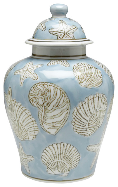 Blue Seashell 10' Ginger Jar