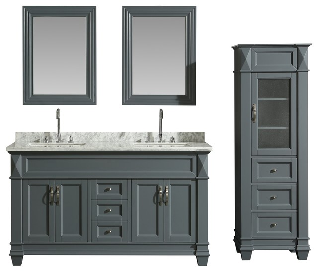 """Hudson 61"""" Double Sink Vanity Set with Marble Top and Linen Cabinet"""